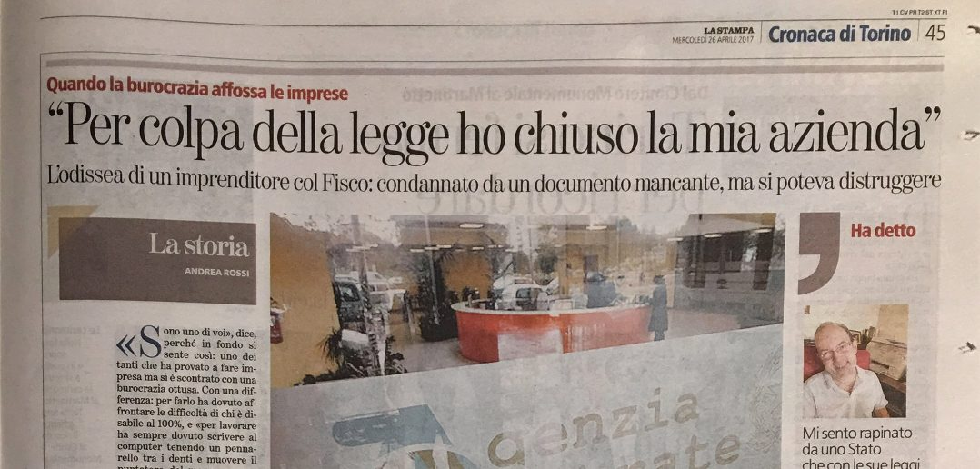 """CarloFilippoFollis.name – Da La Stampa di Torino: """"Per colpa della legge ho chiuso la mia azienda"""""""