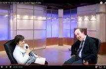 """CarloFilippoFollis.name – La Dott. Laura Vanetti di Enpleinair News intervista Carlo Filippo Follis per una puntata di """"Letture di confine"""", un'immagine tratta dal video dell'intervista."""