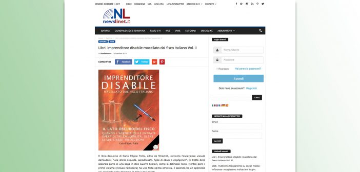 "NL – Newslinet.it recensisce ""Imprenditore Disabile macellato dal Fisco italiano"" Vol. II"
